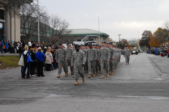 Third Brigade Combat Team, 10th Mountain Division soldiers  march in the Veterans Day parade held at the New York State Fairgrounds in Syracuse, N.Y., Nov 9.