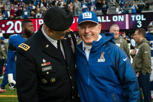 U.S. Army Chief of Staff, Gen. Ray Odierno laughs with New York Giants coach Tom Coughlin before the New York Giants vs. Oakland Raiders game at the MetLife Stadium, East Rutherford, NJ on November 10, 2013 (U.S. Army Photo by Sgt. Mikki L. Sprenkle/Released) Digital