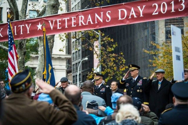 "U.S. Army Chief of Staff, Gen. Ray Odierno salutes during the retiring of the colors at the opening ceremony of the Veterans Day Parade, ""America's Parade"" on November 11, 2013 in Manhattan, New York. (U.S. Army Photo by Sgt. Mikki L. Sprenkle) Digital"
