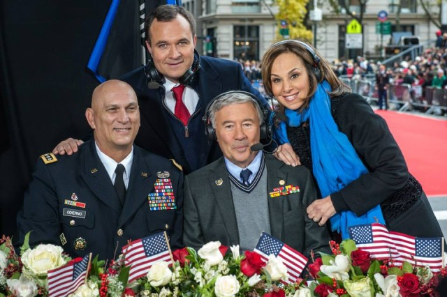 "U.S. Army Chief of Staff, Gen. Ray Odierno (Bottom Left) poses for a picture with Vietnam Veteran, Edward H. Vick (Bottom Right), Greg Kelley (Top Left) and Rosanna Scotto (Top Right) of Good Day New York FOX during the Veterans Day Parade, ""America's Parade"" on November 11, 2013 in Manhattan, New York. (U.S. Army Photo by Sgt. Mikki L. Sprenkle) Digital"