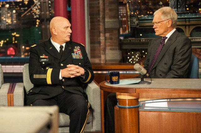 U.S. Army Chief of Staff, Gen. Ray Odierno speaks with David Letterman of the Late Show on November 11, 2013 in Manhattan, New York. (U.S. Army Photo by Sgt. Mikki L. Sprenkle) Digital