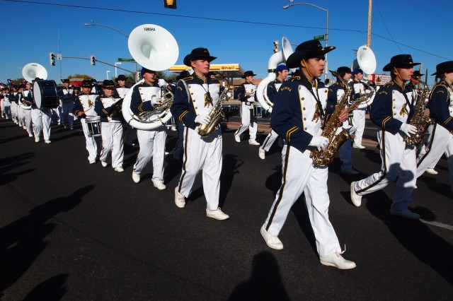 The Buena High School Marching Colts perform upbeat, patriotic songs at the start of the 19th Annual Veterans Day Parade Monday in Sierra Vista. Other school marching bands participating in the parade included Colonel Smith Middle School Panther Marching Band from Fort Huachuca and the Joyce Clark Middle School Marching Band from the Sierra Vista School District.