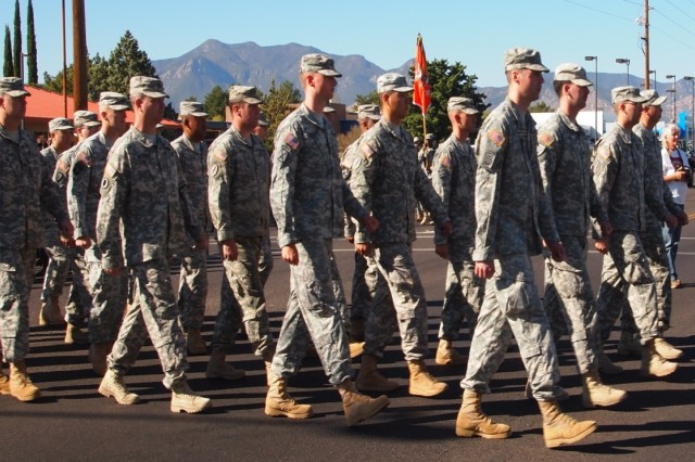 Soldiers from the Noncommissioned Officers Academy participate in the 19th annual Veterans Day Parade Monday in Sierra Vista. Once the parade ended, the NCOA Soldiers took part in a ceremony inside Veterans' Memorial Park.