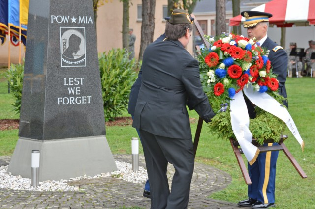 U.S. Army Garrison Wiesbaden and VFW Post 27 leaders place a wreath at Veterans Park on Wiesbaden's Clay Kaserne during a Veterans Day observance.