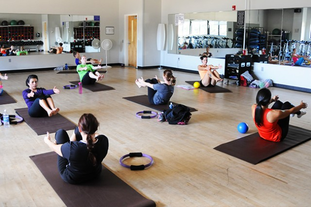 Women participate in a morning pilates class at the Fortenberry-Colton Physical Fitness Center Nov. 12. New classes are being offered to accommodate the needs of those looking to shake things up.