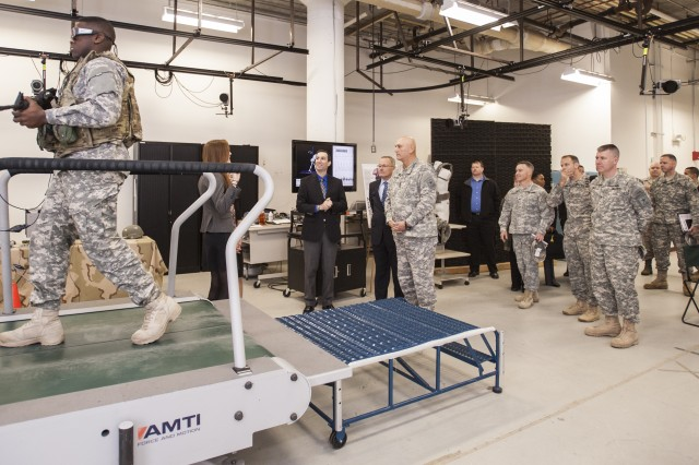 Army Chief of Staff Gen. Raymond T. Odierno (center) visits the Center for Military Biomechanics Research during a Nov. 15, 2013, tour of Natick Soldier Systems Center, Mass.