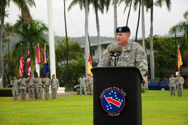 """FORT SHAFTER, Hawaii """" Col. Robert Ulses, the new assistant chief of staff for the U.S. Army Pacific delivers his welcoming speech during a Flying V welcoming ceremony held at Palm Circle, Nov. 15. A Flying V is named after the V shape in which the colors are posted during the ceremony. (U.S. Army Photo by Staff Sgt. Kyle J. Richardson, USARPAC PAO)."""