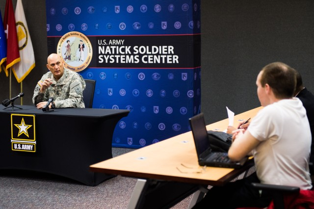 U.S. Army Chief of Staff Gen. Ray Odierno answers questions from local media during a media event at Natick Soldier System Center (NSSC) in Natick, MA, Nov 15, 2013.  NSSC is responsible for researching, developing, fielding, and managing food, clothing, shelters, airdrop systems, and Soldier support items. (U.S. Army photo by Staff Sgt. Steve Cortez/ Released)