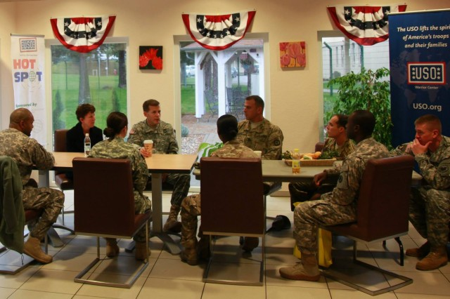 Lt. Gen. and Mrs. Talley meet with Army Reserve Soldiers receiving care at Landstuhl Regional Medical Center in Germany on Nov 4. Talley, Chief of Army Reserve and commander of U.S. Army Reserve Command, also met with medical center staff to discuss the current treatment options for ill and injured servicemembers serving abroad.