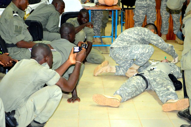 Helping Africans solve African problems is one of U.S. Army Africa's primary priorities. In support of this, USARAF Surgeon's Directorate just completed the second of eight Tactical Combat Casualty Care training events in Burkina Faso with the Burkinabe Gendarmerie to minimize the amount of preventable deaths they might encounter during battle. The six remaining training events are scheduled to take place now through August 2014 in different countries throughout the African continent.