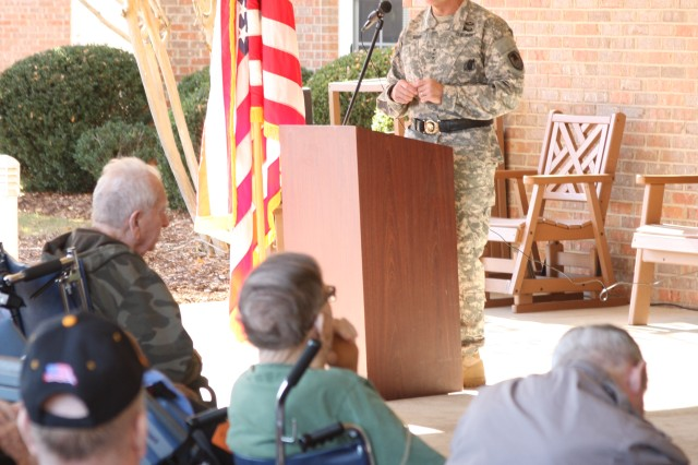 "Lt. Gen. David L. Mann, commanding general of U.S. Army Space and Missile Defense Command/Army Forces Strategic Command, speaks on Veterans Day at the Floyd E. ""Tut"" Fann State Veterans Home Nov. 11 in Huntsville, Ala."