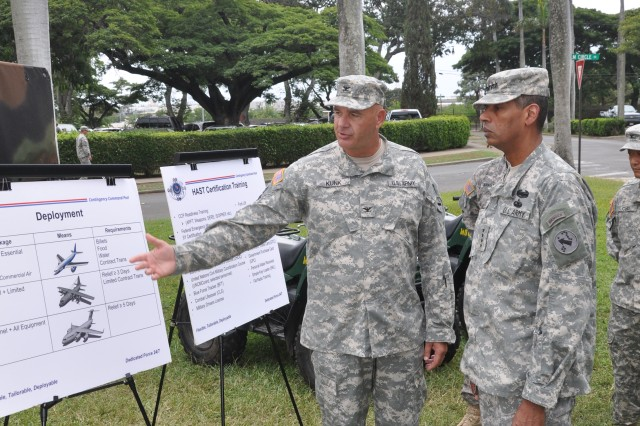 Col. Thomas Kunk, the deputy chief of staff for the Contingency Command Post teams discuss the functionality of the CCP with Gen. Vincent Brooks, the commanding general of U.S. Army Pacific, during a walk-through of the organizations equipment at Palm Circle, on Fort Shafter, Hawaii, Nov. 14.