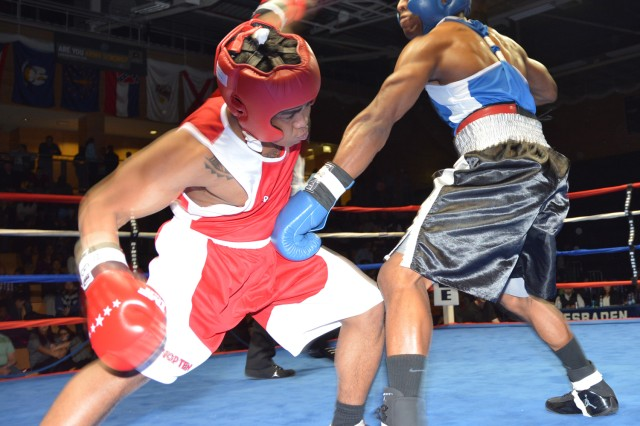 Wiesbaden's Justin Duke sends Bavaria's Idy Tagama into a spin during their middleweight bout.