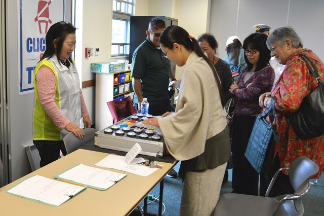 The quick foot/arm simulator tests reaction time during a Safety Day event on Torii Station on Nov. 21, 2013.