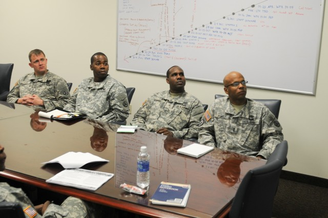 Soldiers from the 3d ESC attend a Warrant Officer Professional Development session, Oct. 15, in Harris Hall.