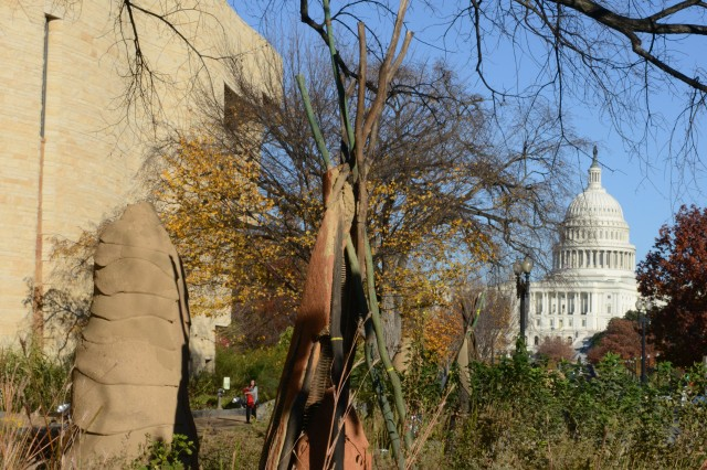 The National Museum of the American Indian (left), is just a short distance to Capitol Hill, where Native American code talkers were honored.