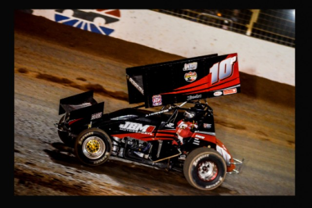Jim Perricone drives the nuber 10P sprint car during a race in Charlotte, N.C.