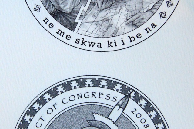 One of the brochures presented Nov. 20, 2013, on Capitol Hill, depicts Meskwaki code talkers.
