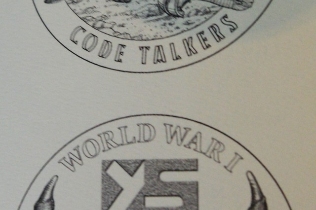 One of the brochures presented Nov. 20, 2013, on Capitol Hill, depicts Yankton Sioux code talkers.