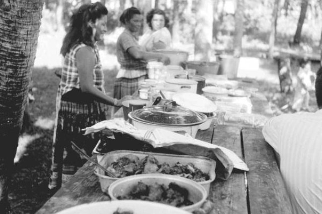 Seminole Indians in Florida prepare Thanksgiving meals of wild turkey, venison and pie in Florida sometime in the mid-1950s. Native Americans are said to have shared their Thanksgiving meal with the Pilgrim settlers at Plymouth Rock, Mass., in 1621.