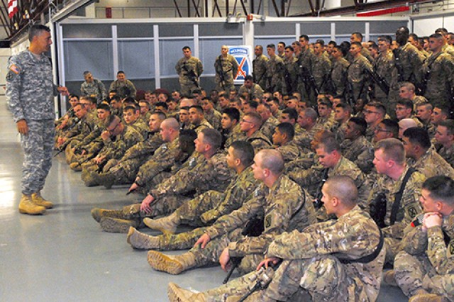 Maj. Gen. Stephen J. Townsend, commander of Fort Drum and 10th Mountain Division, gives Soldiers of 3rd Brigade Combat Team their final mission briefing at the Rapid Deployment Facility in northern New York shortly before they board their flight to begin their nine-months-long deployment to Afghanistan in support of Operation Enduring Freedom.