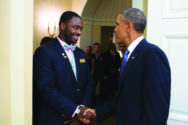 RaShaan Allen receives congratulations from President Barack Obama Sept. 18 at the White House for being selected as the Boys and Girls Clubs of America Military Youth of the Year.