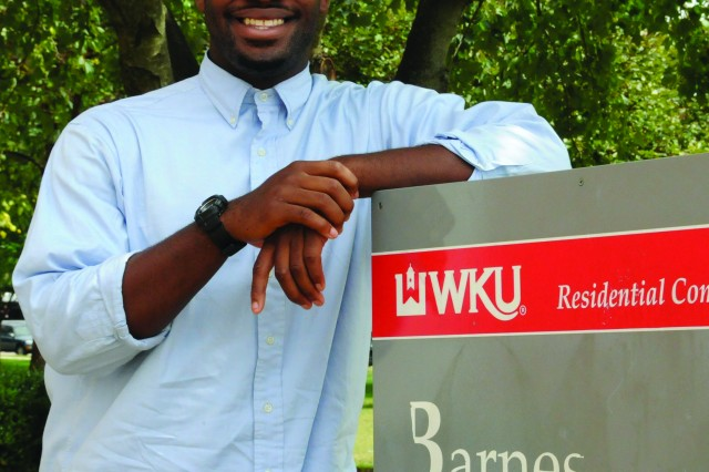 RaShaan Allen, selected as Boys and Girls Clubs of America Military Youth of the year, stands outside his dorm at Western Kentucky University in Bowling Green, Ky.
