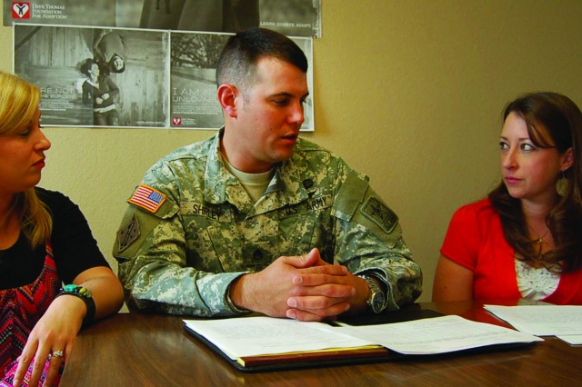 During his free time, Texas recruiter Staff Sgt. Jonathan Shirley embraces the opportunity to be a Court Appointed Special Advocate, or CASA, to help children and families in turmoil. He regularly meets with CASA volunteer trainer Amy Canton and counselor Brooke Davis for advice and to share information about the families he supports.