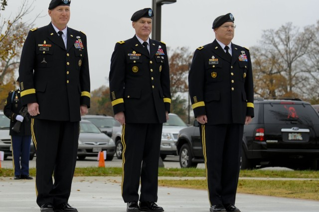 From left, U.S. Army Gen. Robert W. Cone, Training and Doctrine Command commanding general, Maj. Gen. Bradley W. May, former Initial Military Training deputy commanding general, and Maj. Gen. Ross E. Ridge, IMT deputy commanding general, stand at attention during a change of responsibility ceremony and May's retirement review at Fort Eustis, Va., Nov. 22, 2013. A change of responsibility ceremony traditionally represents the transfer of authority from one person to another, ensuring the unit and its Soldiers are never without leadership.