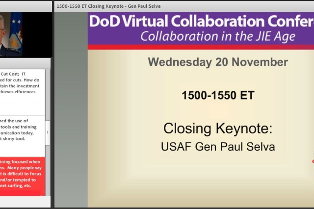 """U.S. Air Force General Paul Selva answers questions from participants during his keynote address at the November 20 """"Department of Defense Virtual Collaboration in the Joint Information Environment"""" virtual conference."""