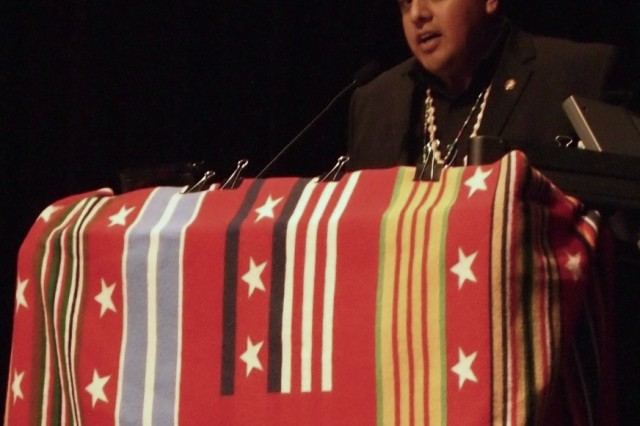 "Guest speaker Delsen Liston of the Tohono O' odham Nation addresses the audience during the Native American Heritage Month observance Friday at Fitch Auditorium, Alvarado Hall. Liston is a former Marine, serving from 2003 "" 2007 as a corporal."