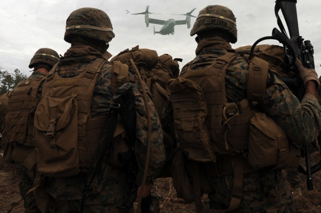 After they completed their week-long noncombatant evacuation exercise Marines from I Company, 3rd Battalion 8th Marines, Camp Lejeune, N.C. waited to fly home on V-22 Ospreys.