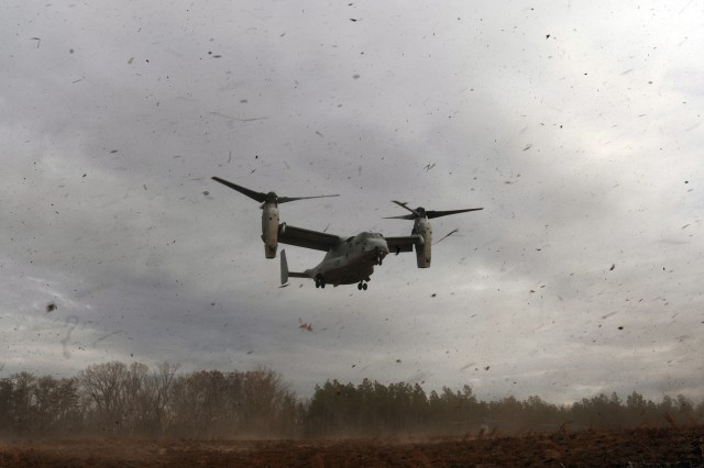 A U.S. Marine Corps V-22 Osprey descends into a landing zone at Fort A.P. Hill, Va. on Nov. 22 to pick up Marines who'd just completed a week-long training exercise on post.
