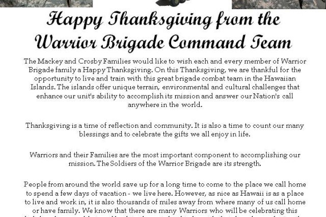 Happy Thanksgiving from the Warrior Brigade Command Team!