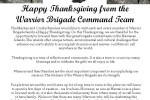 Happy Thanksgiving from the Warrior Brigade Command Team