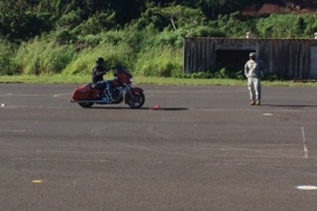 """SCHOFIELD BARRACKS, Hawaii """" 2nd Stryker Brigade Combat Team, 25th Infantry Division Soldiers conduct motorcycle safety training at Wheeler Gulch on Wheeler Army Airfield Nov. 26. The training is designed to make sure all Soldiers who ride motorcycles have the basic skills and knowledge needed to ride safely."""
