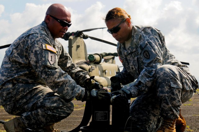 "Sgt.  Shawnna Saulsberry and Spc. Thomas Panjelinan, petroleum supply specialists, 325 Brigade Support Battalion, 3rd Brigade Combat Team, 25th Infantry Division, attach fuel filters to the extended range fuel system used from a CH-47 Chinook, more commonly known as the ""Fat Cow,"" during the 25th Combat Aviation Brigade Forward Arming and Refueling Point Rodeo on Wheeler Army Airfield, Hawaii, Nov. 18."