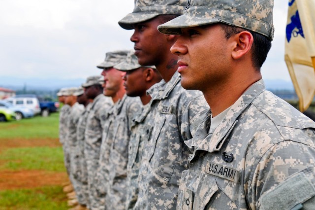 Soldiers from the 25th Combat Aviation Brigade, 25th Infantry Division, stand in formation awaiting the results of the 25th CAB, 25th Infantry Division, first joint service Forward Arming and Refueling Point Rodeo competition on Wheeler Army Airfield, Hawaii, Nov. 20.