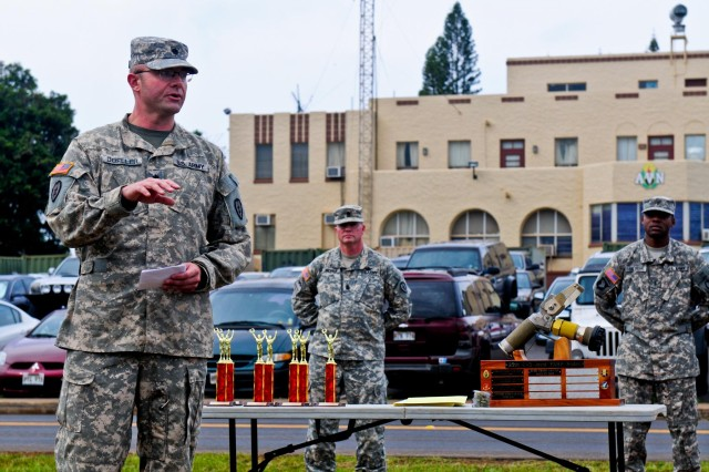 Lt. Col. John Doeller, 209th Aviation Support Battalion commander, 25th Combat Aviation Brigade, 25th Infantry Division, talks to the participants of the 25th CAB, 25th Infantry Division, first joint service Forward Arming and Refueling Point Rodeo competition before announcing the winners on Wheeler Army Airfield, Hawaii, Nov. 20.