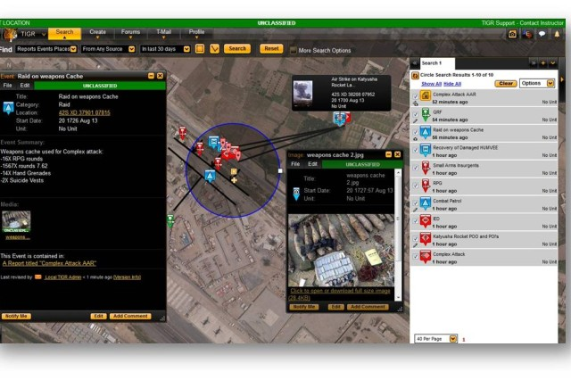 Joint Battle Command-Platform provides the foundation for the Mounted Computing Environment, allowing Soldiers to access new applications, as well as tools they rely on today such as Tactical Ground Reporting, pictured above. By incorporating TIGR into JBC-P, Soldiers out on patrol can access a searchable database of unit activities that uses a Google Earth-like interface, pictures and text.