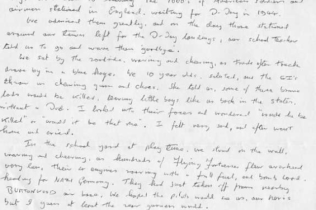 The handwritten letter that 78-year-old Geoff Pollitt sent to AFN Europe.
