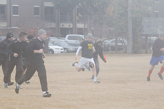 The 11th Engineer Battalion officers and noncommissioned officers faced off Nov. 27 for one of the battalion's pre-Thanksgiving traditions, the annual Turkey Bowl. The officers topped the NCOs 19-11 in a game of ultimate football.