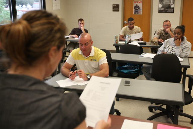 Off-duty military students attend a class at Embry-Riddle Aeronautical University in Daytona Beach, Fla.