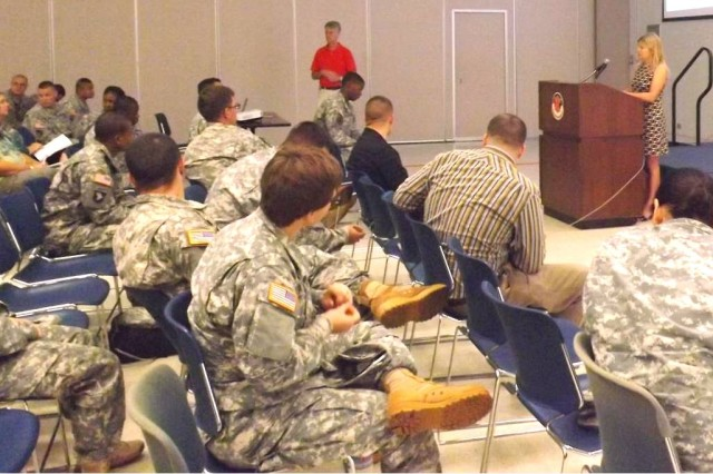 Dr. Michelle Linn-Gust delivers a presentation and starts the discussion with about 65 Soldiers at Fort Shafter Flats, HI on 15 NOV. Over three days she spoke to over 1200 Soldiers with the largest showing at SGT Smith Theatre at Schofield BKS 13 NOV.