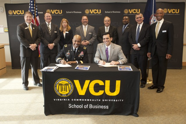 In a ceremony Wednesday at Virginia Commonwealth University, Dr. Michael Rao, VCU president, and Maj. Gen. Larry D. Wyche, Combined Arms Support Command and Fort Lee commanding general, signed a Memorandum of Understanding agreement to develop the new Master of Supply Chain Management degree program.