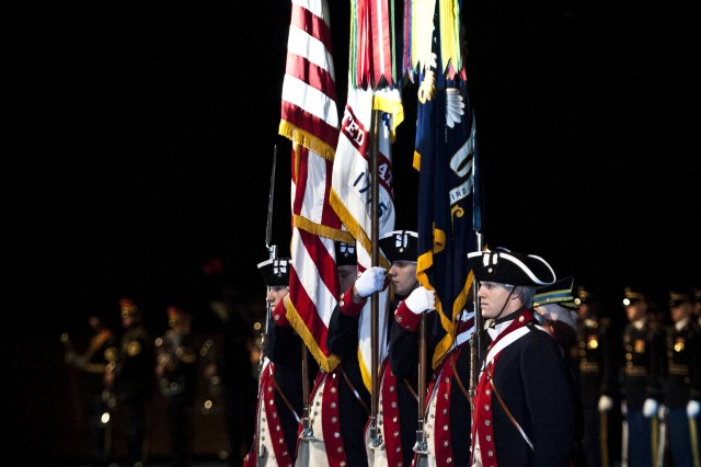 United States Army Continental Color Guard post the colors during a Full Honors Ceremony in honor of Gen. Bikram Singh, Chief of Army Staff of the Indian Army at Joint Base Myer-Henderson Hall, Va., on December 5, 2013. (U.S. Army photo by Sgt. Mikki L. Sprenkle/ Released)