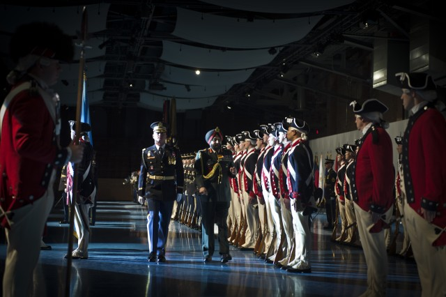 """U.S. Army Col. James C. Markert, Commander of the 3rd Infantry Regiment """"Old Guard"""", escorts India's Army Chief of Staff Gen. Bikram Singh during an arrival and award ceremony at Joint Base Myer-Henderson Hall, Va., on December 5, 2013. (U.S. Army photo by Sgt. Mikki L. Sprenkle/ Released)"""