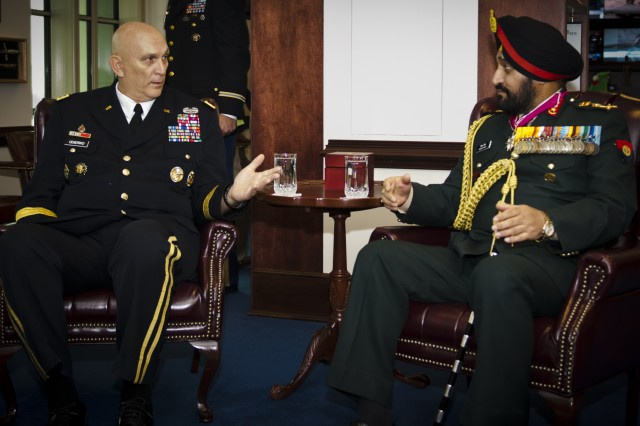 United States Army Chief of Staff, Gen. Ray Odierno speaks with Gen. Bikram Singh, Indian Army Chief of Staff, during a office call to the Pentagon, Arlington Va., on December 5, 2013. (U.S. Army photo by Sgt. Mikki L. Sprenkle/ Released)