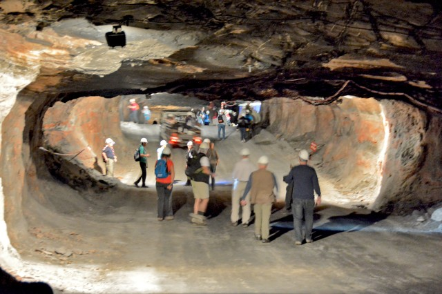 Hikers make their way through one of the passages in the Merkers mine.