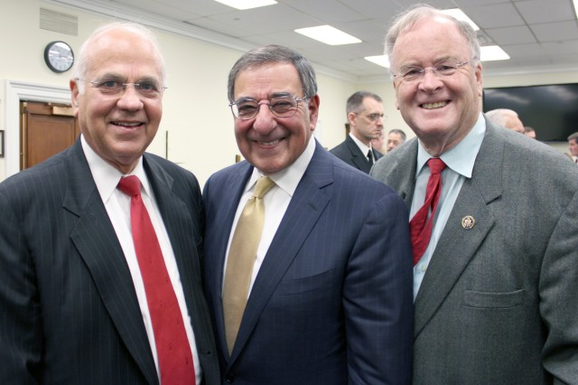 "PRESIDIO OF MONTEREY, Calif. -- Fred Meurer (from left), former-Defense Secretary Leon Panetta, and Rep. Sam Farr pose earlier this year after a presentation on the ""Monterey model,"" which has created strong collaborations among Central Coast military installations, local governments and the surrounding communities; and has been seen as a national model to follow."